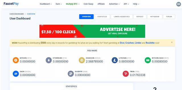شرح محفظة Faucetpay والربح منها لجميع العملات الرقمية Advertise Here Roulette Advertising
