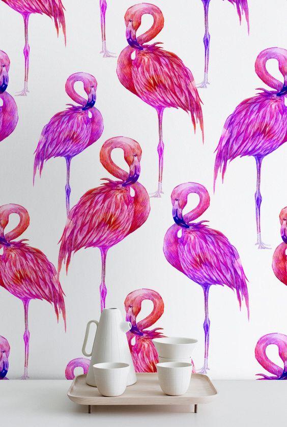Pink Watercolor Flamingo Wallpaper, Flamingo Peel \ Stick Wallpaper