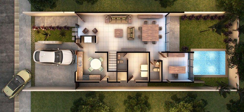 Plano De Casa Moderna De Dos Pisos Con Cochera Doble Planos De Casas Plano De Casa Moderna Planos De Casas Modernas