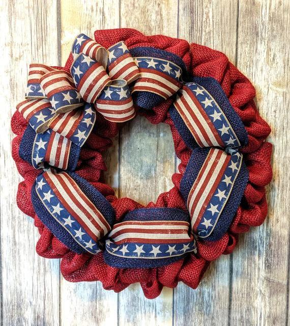 Photo of Patriotic Wreath | Patriotic Burlap Wreath | American Flag Wreath | 4th Of July  Wreath | Americana Wreath | Front Door Wreath