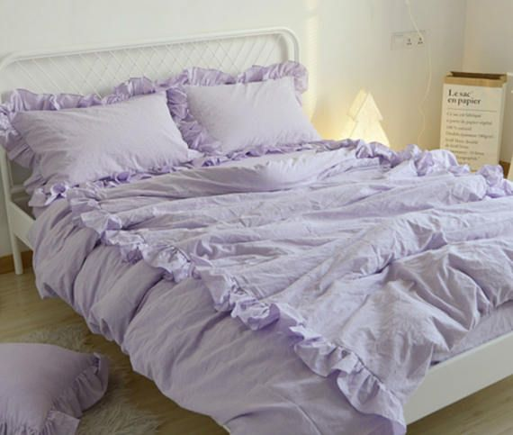 Lavender Purple Duvet Cover With 2 Rows Of Ruffles 100 Washed