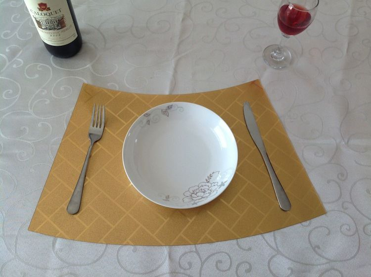 vintage restaurant antiskid wedge grid reversible gold cafe easy clean round tables mats placemat