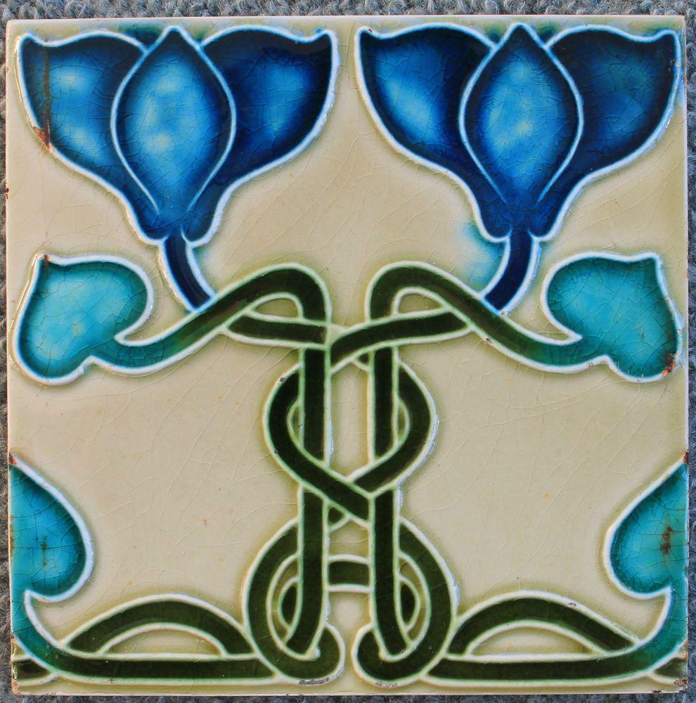 Details about Antique Art Nouveau Tile, c1905