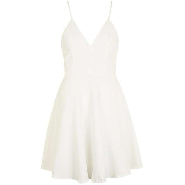 Strappy Skater Dress by Glamorous Petites ($44) ❤ liked on Polyvore featuring dresses, layered dress, topshop dresses, white day dress, white strappy dress and white layered dress
