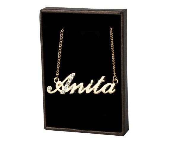 65ddf1280520e Name Necklace Anita Gold Plated 18ct by GoldNameNecklaces on Etsy ...