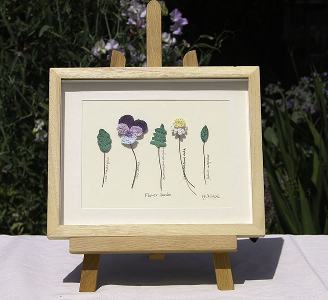 Textile Art Picture Botanical Flower Crochet Framed