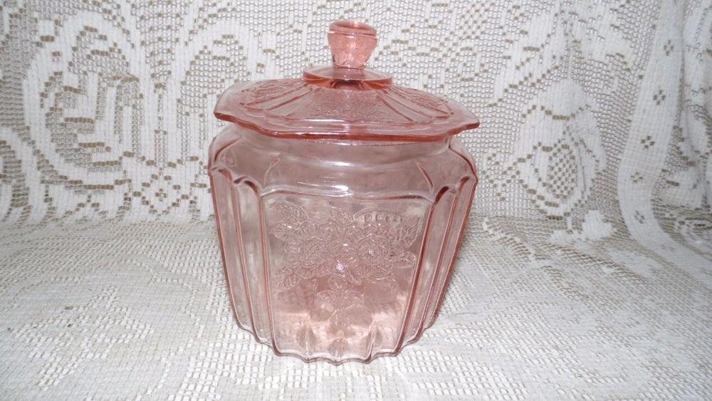 VINTAGE ANCHOR HOCKING PINK DEPRESSION GLASS COOKIE JAR MAYFAIR OPEN ROSE