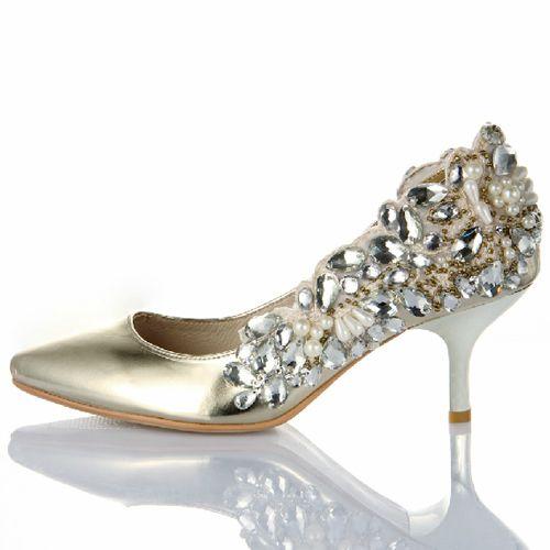 Designer Gold Leather Comfortable Low Heel Wedding Bridal Evening Shoes SKU 1090255