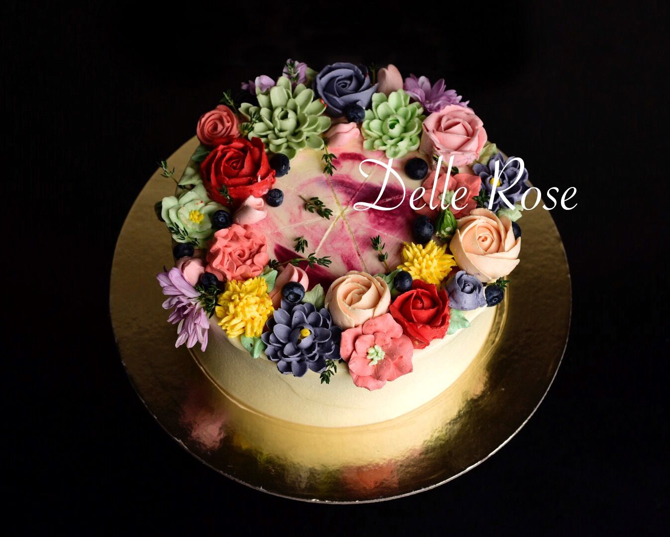 Amazing cake with butter cream flowers colorful flowers