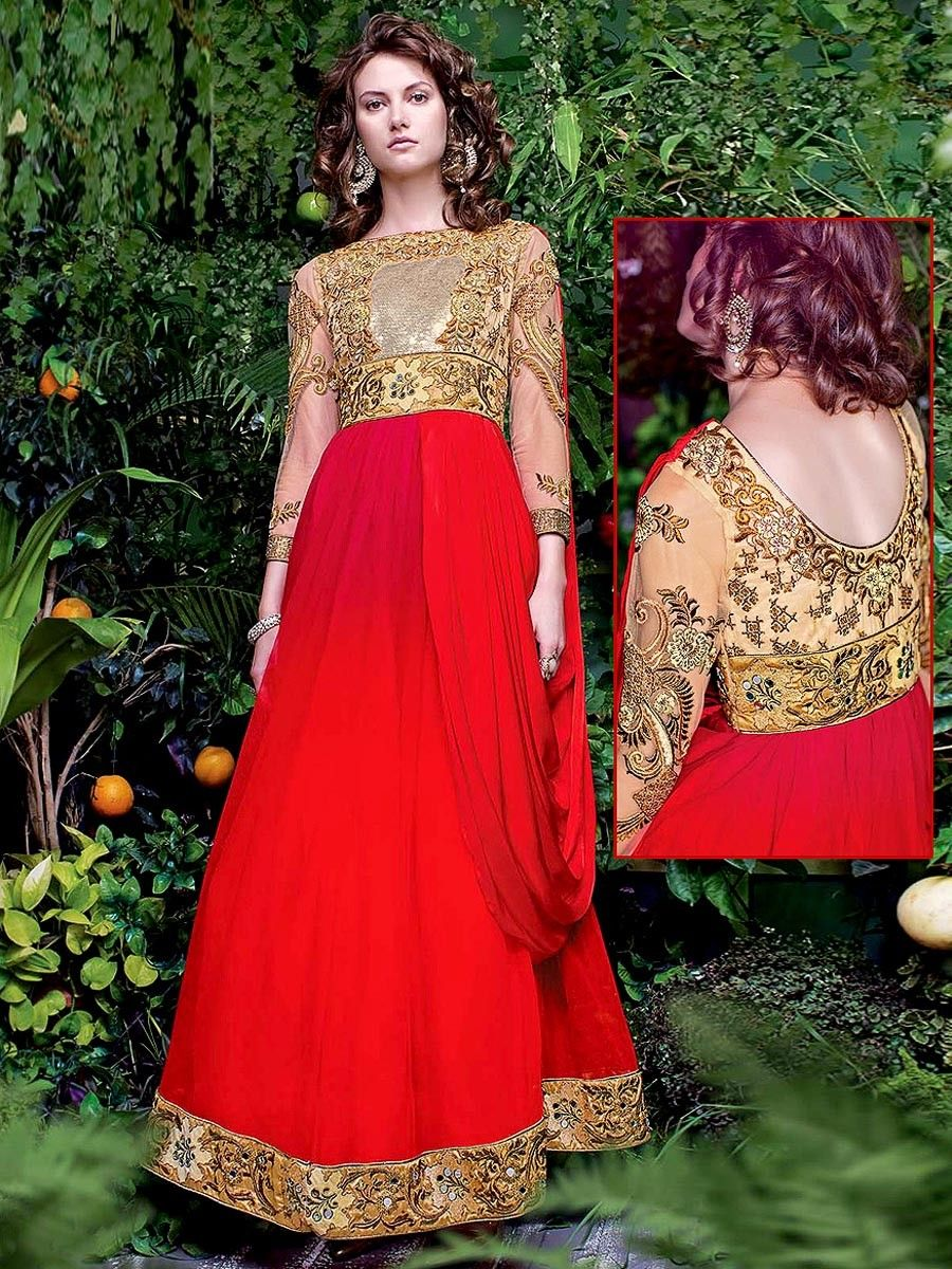 Prominent net gown in red, beige color is embellished with zari, mirror work. Item code : GWEB11004 http://www.bharatplaza.com/new-arrivals/gowns.html
