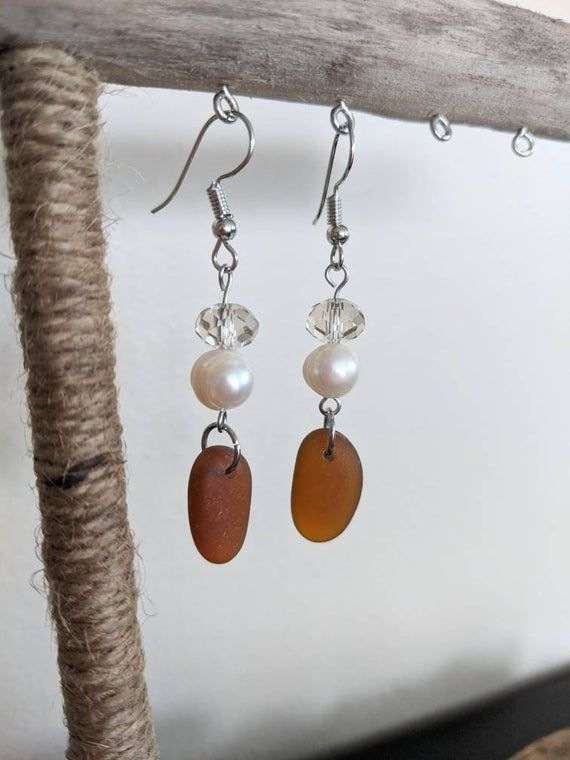 Photo of Lake Ontario Brown Beach Glass Sea Glass Earrings with Glass and Freshwater Pearl Bead Accent