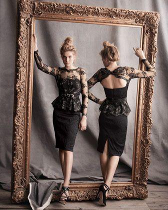 6d877ce0e3a Badgley Mischka Collection Lace Peplum Brocade Cocktail Dress - Neiman  Marcus