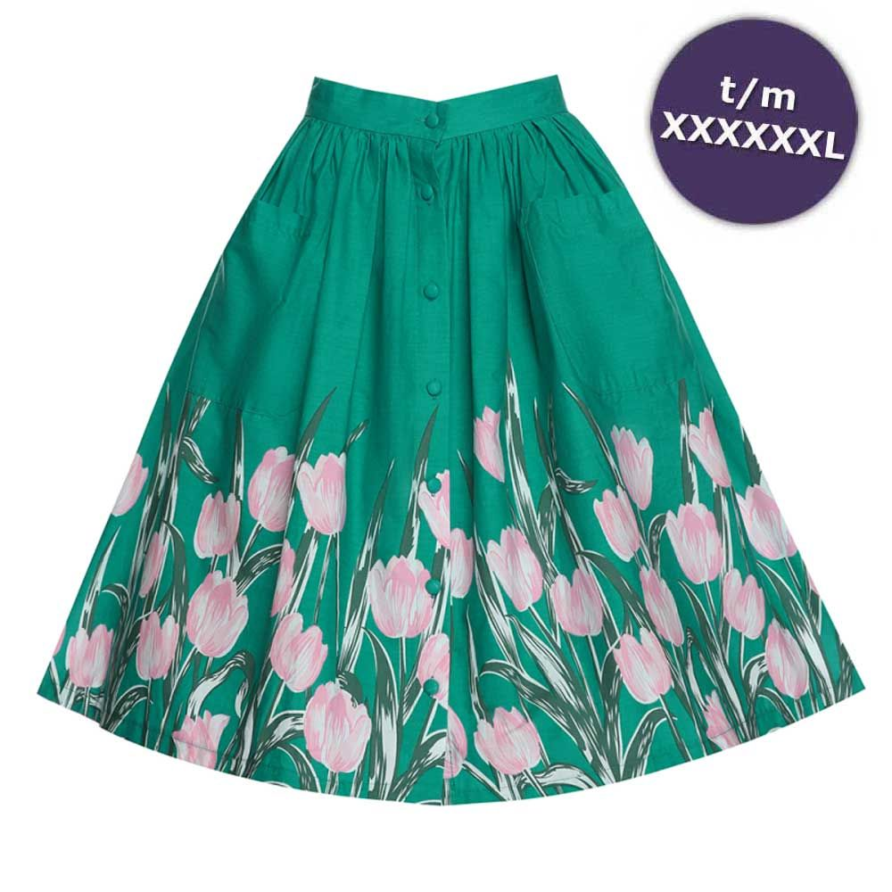 d89e48d82636a4 Swing Adalene rok met tulpen print turquoise - Vintage