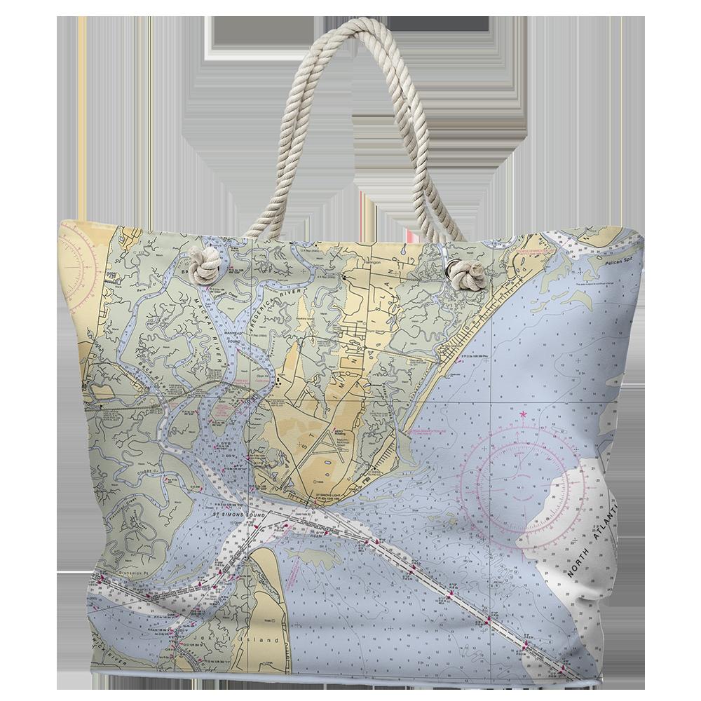 Ga Saint Simons Island Ga Nautical Chart Tote Bag Map Tote Bag Tote Bag Bags
