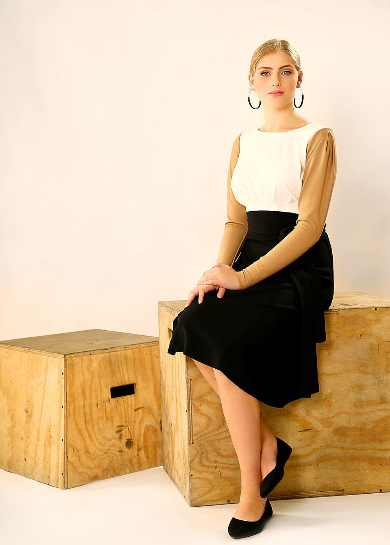 15% sale - Multi colored midi dress – Long sleeve dress - Modest  dress with belt by TAMARLANDAU on Etsy