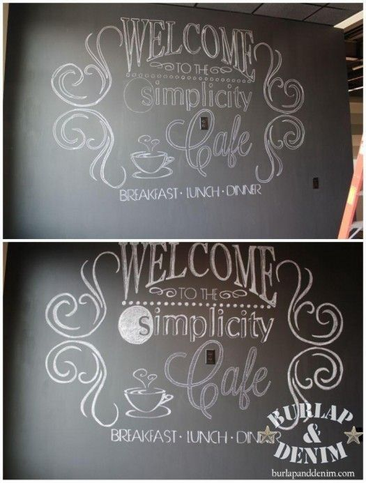 How to make giant Wall Chalk Art ... http://burlapanddenim.com/2012/09/easy-tutorial-for-giant-chalk-ar