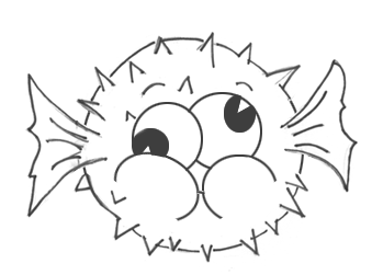 How to Draw a Cartoon Blowfish AKA Puffer Fish Step by Step