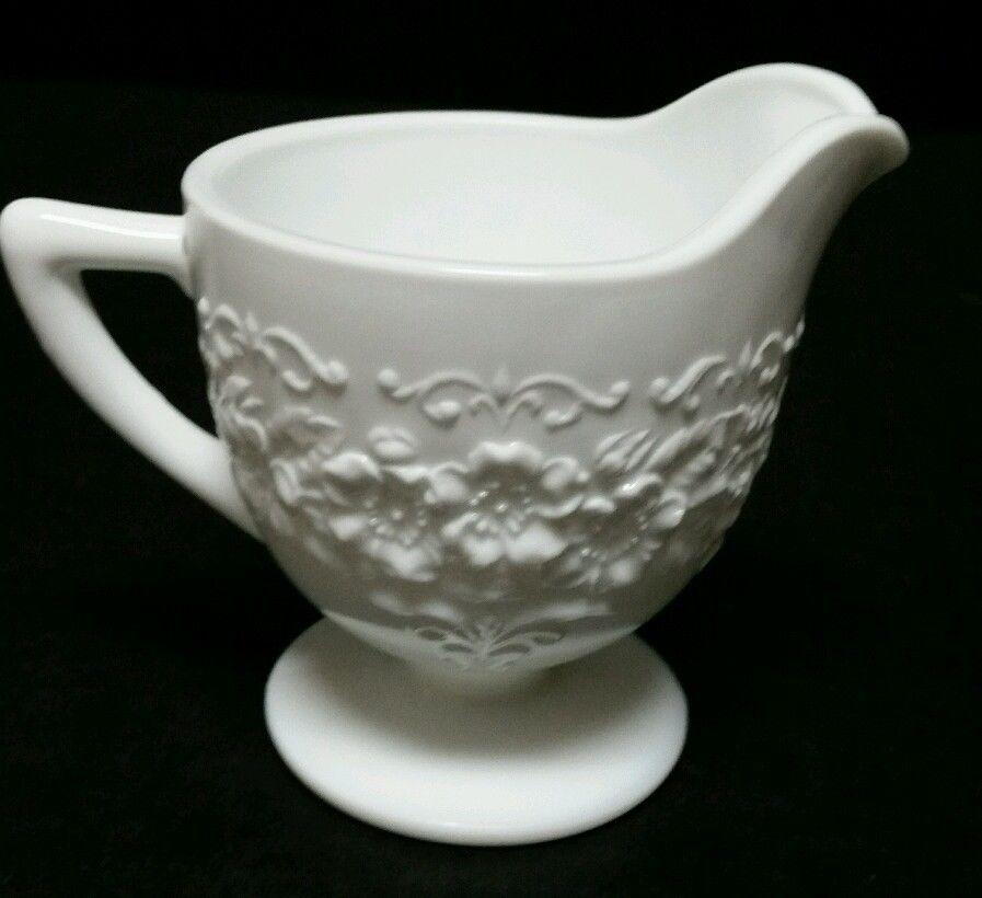 "Milk Glass Footed Pedestal 4"" Creamer Pitcher Flowers Floral Kitchen EUC Vintage"