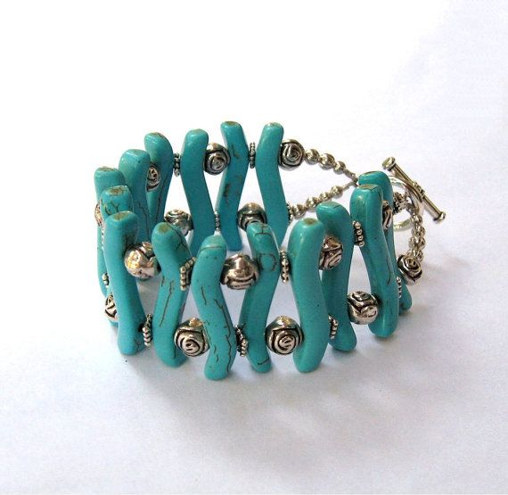 Turquoise Malachite Bracelet  Beaded  Handmade by CinLynnBoutique