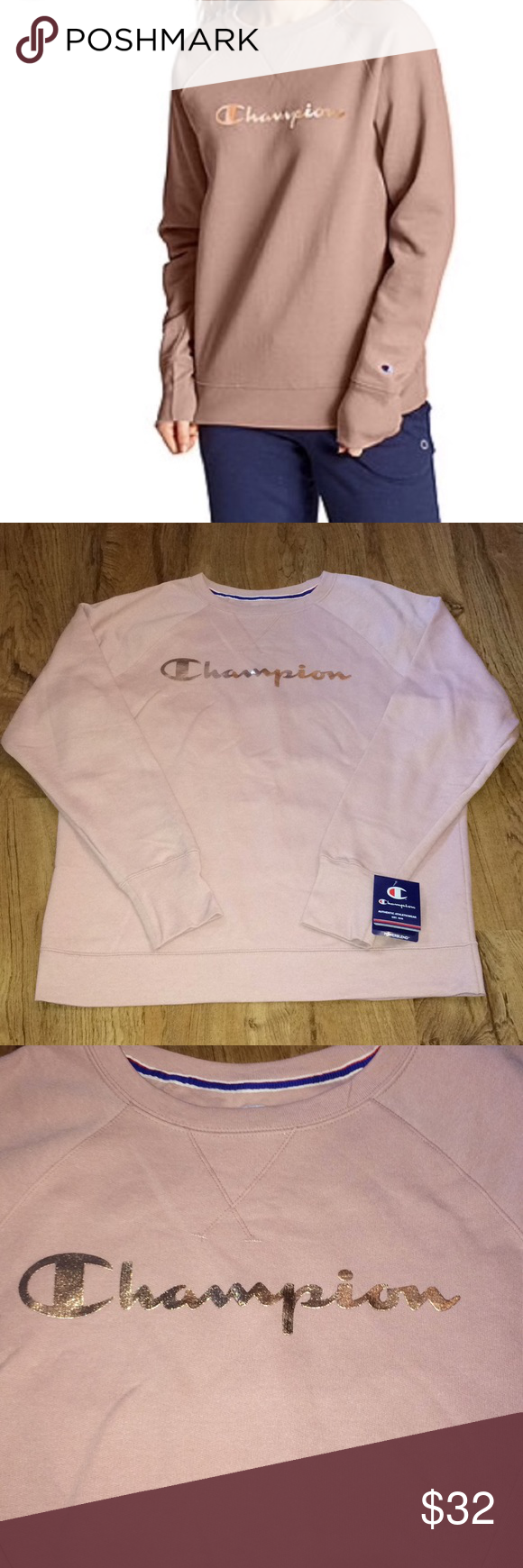 Champion Rose Gold Sweatshirt New With Tags Fast Shipping Price Is Firm Champion Rose Gold Pullover Sweatshirts Sweatshirt Tops Long Sleeve Tshirt Men [ 1740 x 580 Pixel ]