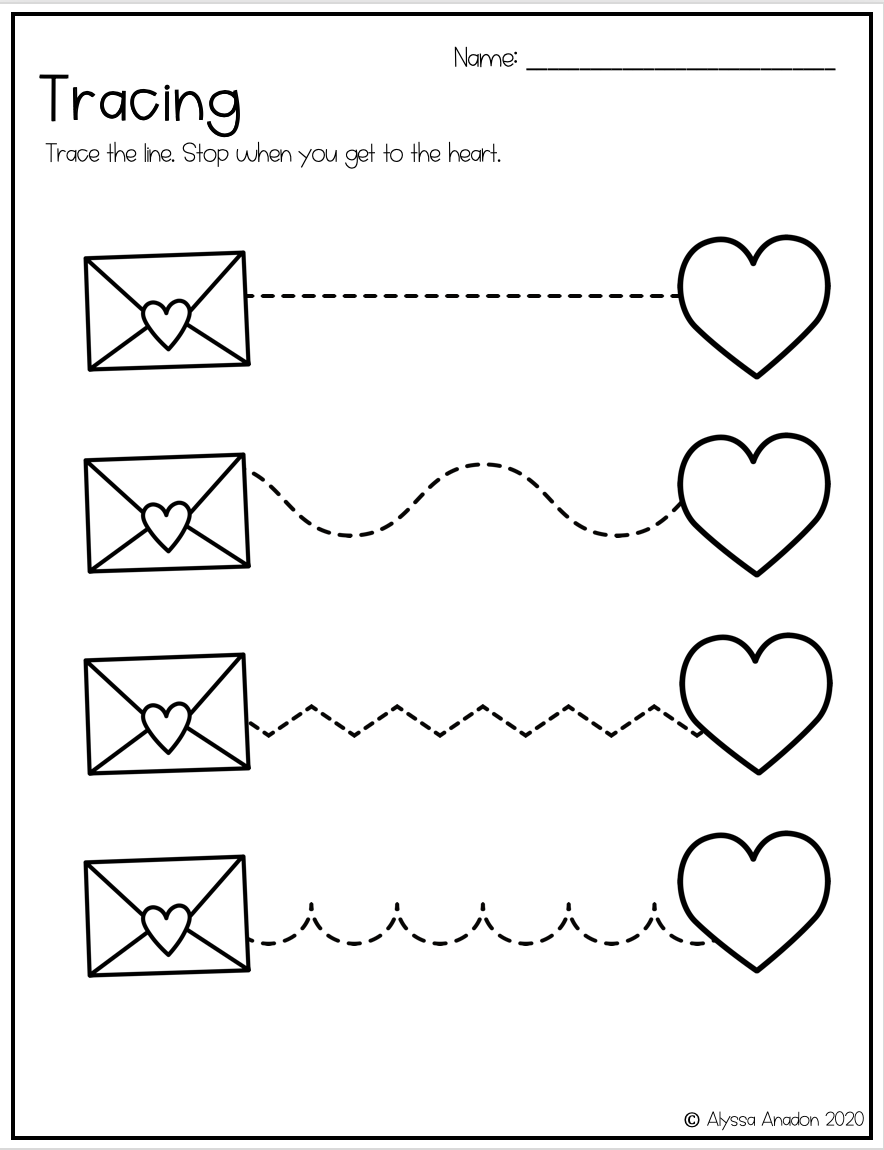 Valentine S Day Tracing Worksheets For Preschool Kindergarten Or Special Education Tracing Worksheets Valentine Worksheets Fine Motor Skills Tracing [ 1150 x 884 Pixel ]