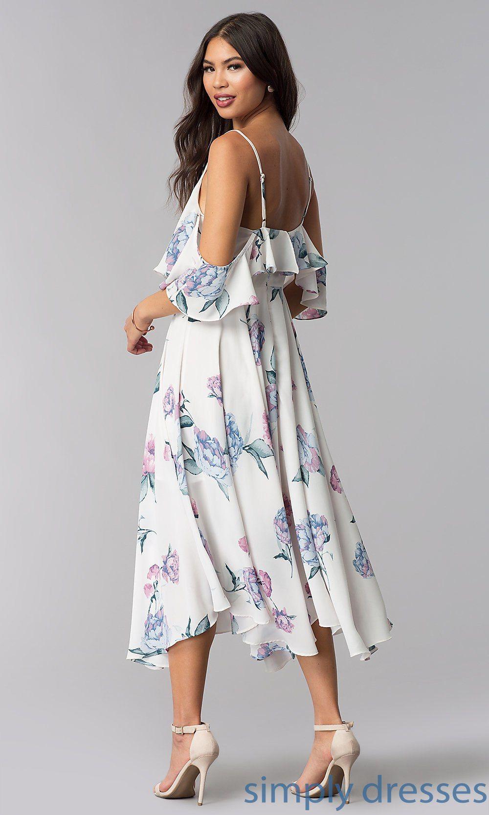 ColdShoulder Print TeaLength Wedding Guest Dress in 2020