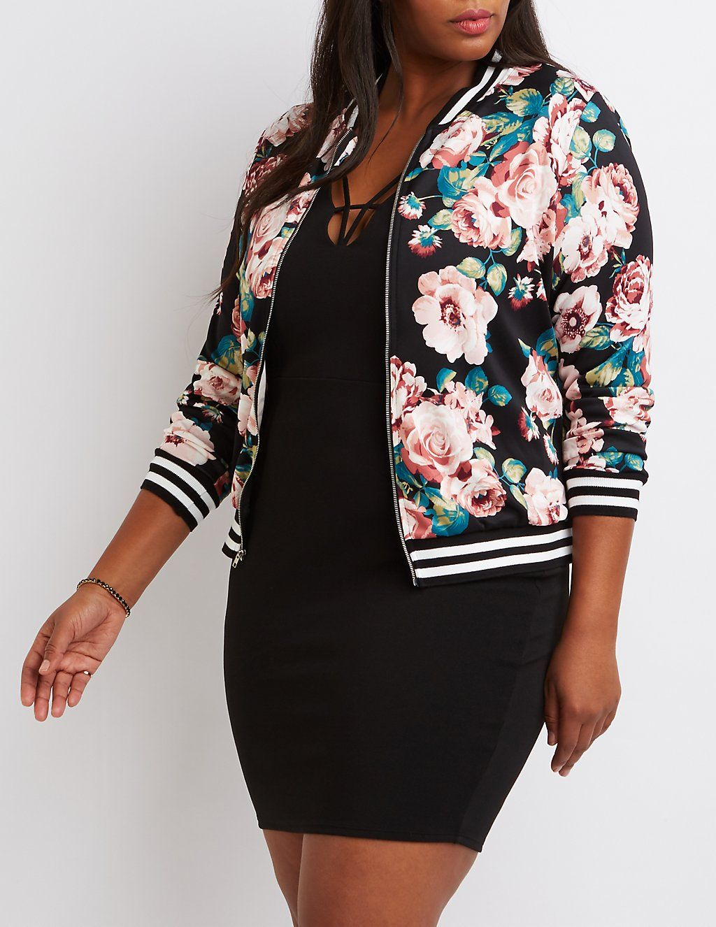 073006ce085 Plus Size Floral Striped Bomber Jacket in 2019