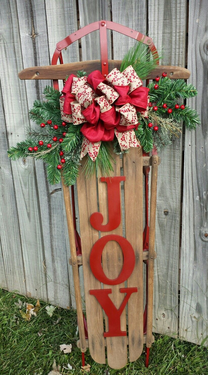 I Like The Joy But Not The Bow Christmas Porch Decor Christmas Sled Decoration Christmas Diy