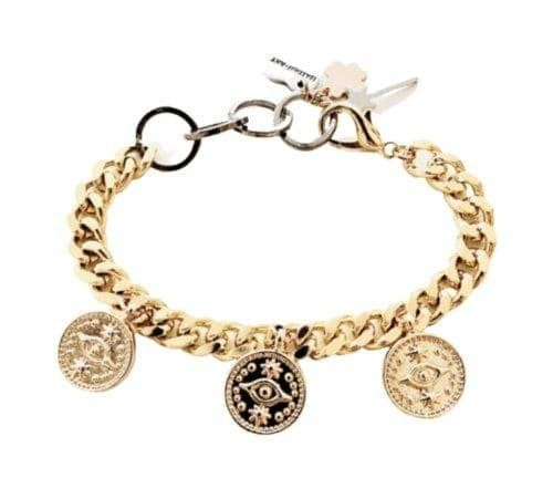This Italian imported bracelet will protect you from bad intentions while energizing you via gold's powerful vibrations! This evil eye product has been intentionally designed using gold to provide this great mixture of both protective and good energy. Gold is one of the most versatile materials in the world and one of the most overlooked materials in the crystal community; it is known for [i] bringing warmth and energy to ones who wear it, for [ii] helping those who suffer from poor concentratio