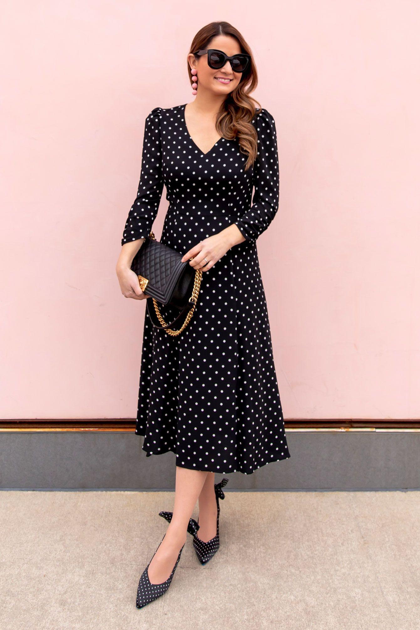 Styling A Long Sleeve Polka Dot Midi Dress Style Charade Dot Dress Outfit Midi Dress Outfit Polka Dress [ 2010 x 1340 Pixel ]