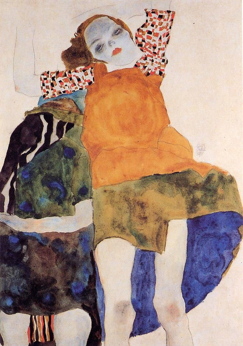 Egon Schiele Libro Two Seated Girls