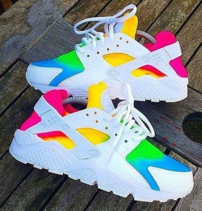 2016 charming nike huarache womens white rainbow shoes and comfortable wear!!!