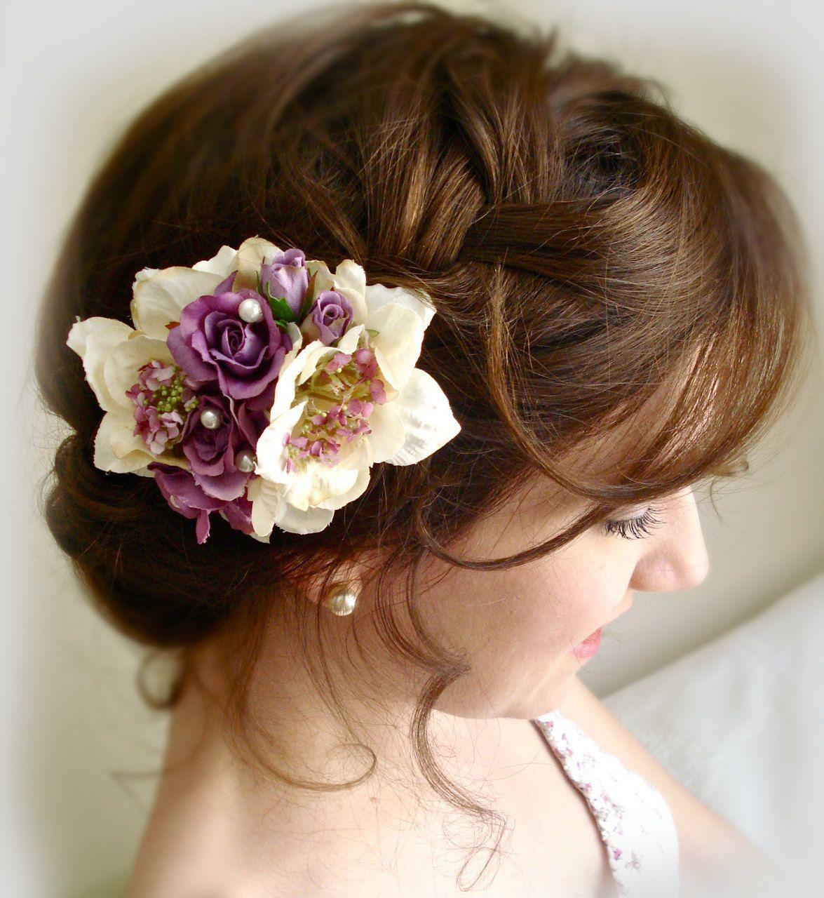 purple flower for hair, bridal hair accessories, lavender