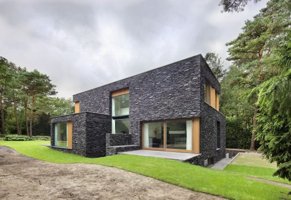 Stone House Siding Blends Beautifully With Nature In The Netherlands House Designs Exterior Stone Houses Facade House