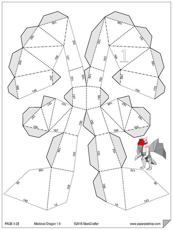 photograph about Printable Papercrafts known as Medieval Dragon, Printable Papercraft Template. Items