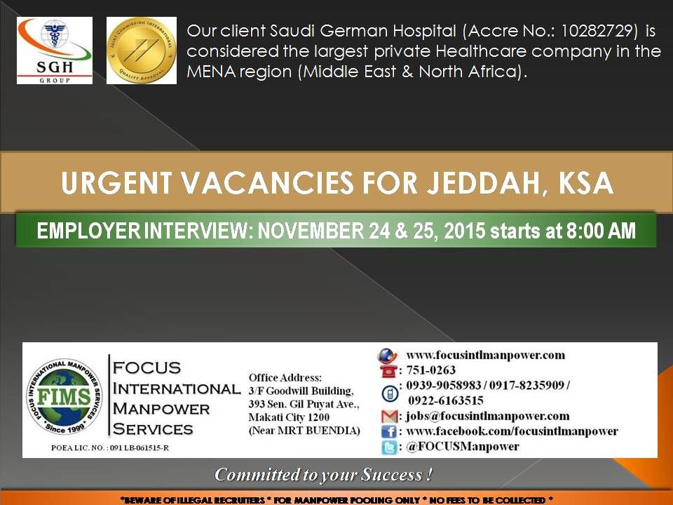 On Site Employer Interview For Our Iso Jcia Certified Tertiary Hospital Client Saudi German Hospital Jeddah Ksa B Overseas Jobs Job Opportunities Hospital