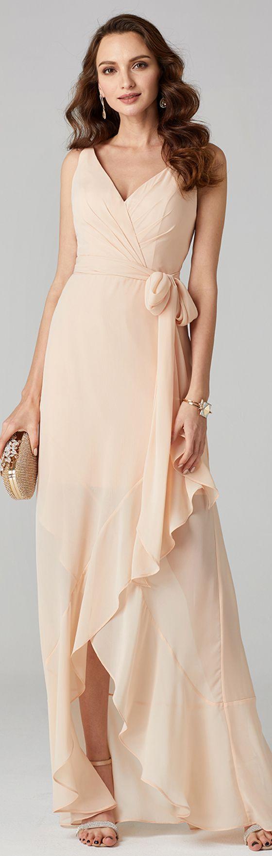 [$129.99] Ball Gown V Neck Asymmetrical Chiffon Cocktail ...