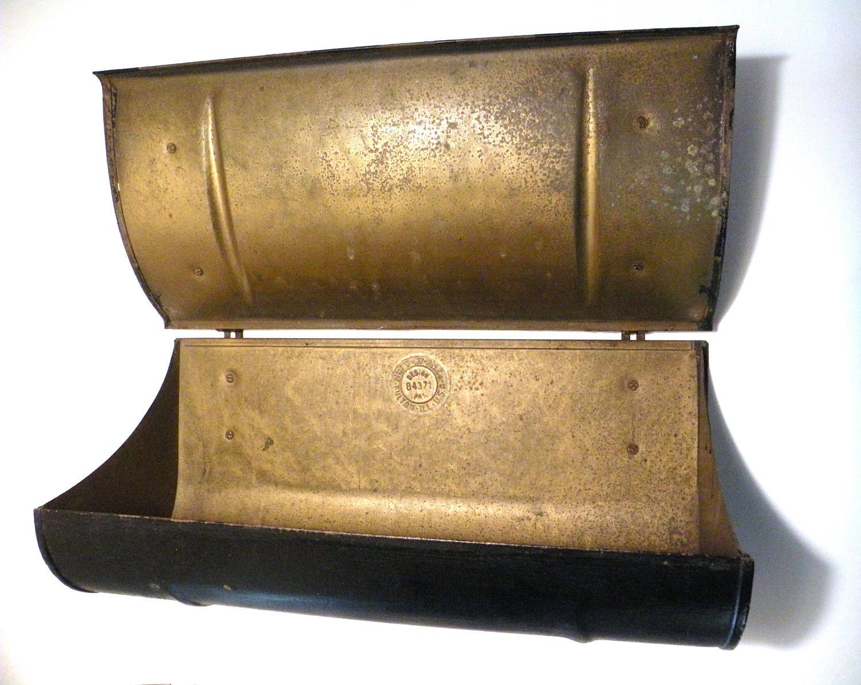 Front Door Mailbox Lid Newspaper Box Black Brass Storage