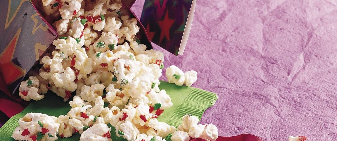 Snowflake Popcorn Recipe Christmas popcorn, Popcorn