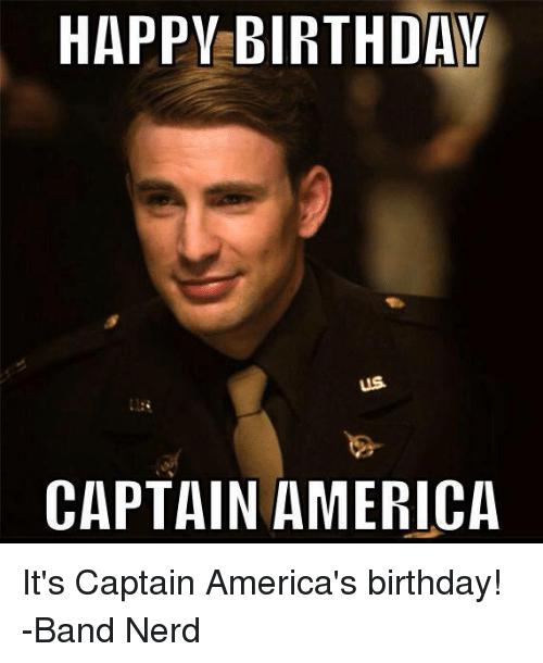 America Birthday And Nerd Happy Birthday Us Captain Americait S Captain America S Birthday Band Nerd Captain America Birthday America Birthday Band Nerd