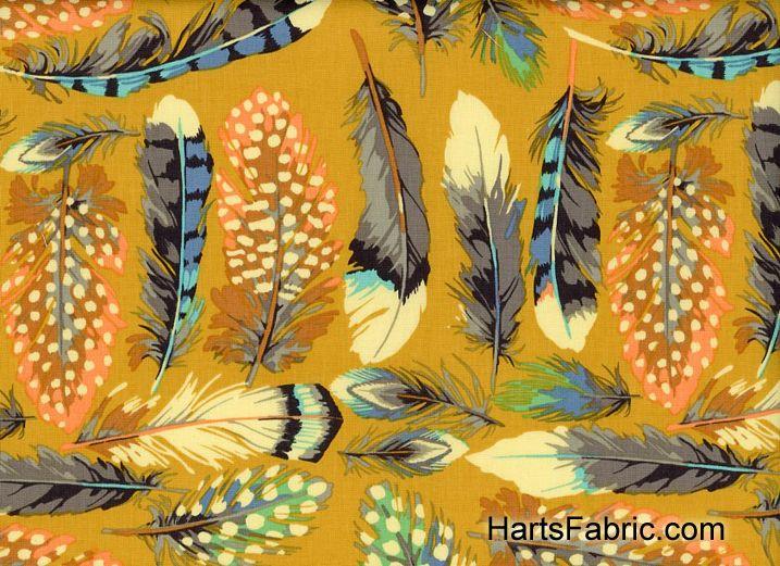 Farmington Feathers Cotton Fabric Mustard