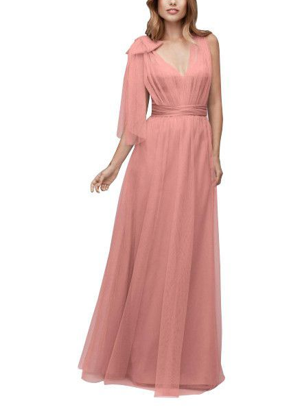 DescriptionWtoo by Watters Style141Full length convertible bridesmaid dressSweetheart necklineTull panels can be wrapped, twisted and tied in countless waysBobbinet Tulle