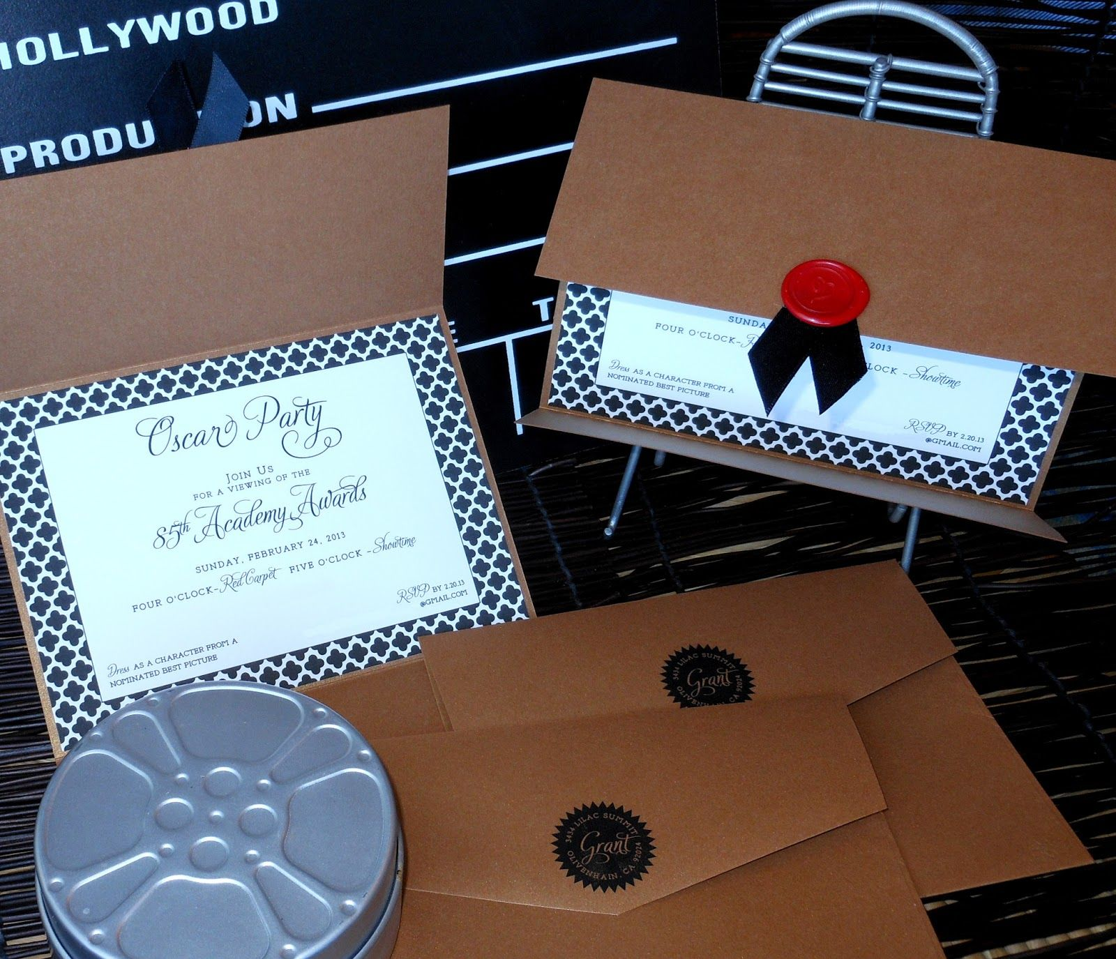 Oscar Party Academy Awards Invitations by Kim Grant Ink