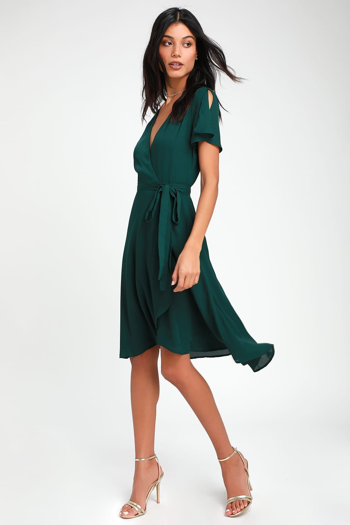 Rise To The Occasion Emerald Green Midi Wrap Dress Wrap Dress Midi Green Cocktail Dress Wrap Dress [ 1680 x 1120 Pixel ]