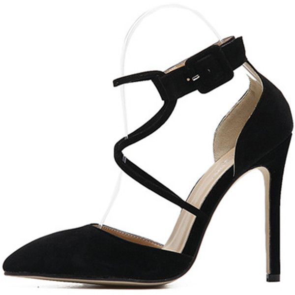 2436542ea64 Black Suede Crossed Strap Pointed Toe Stiletto High Heels (160 RON) ❤ liked  on