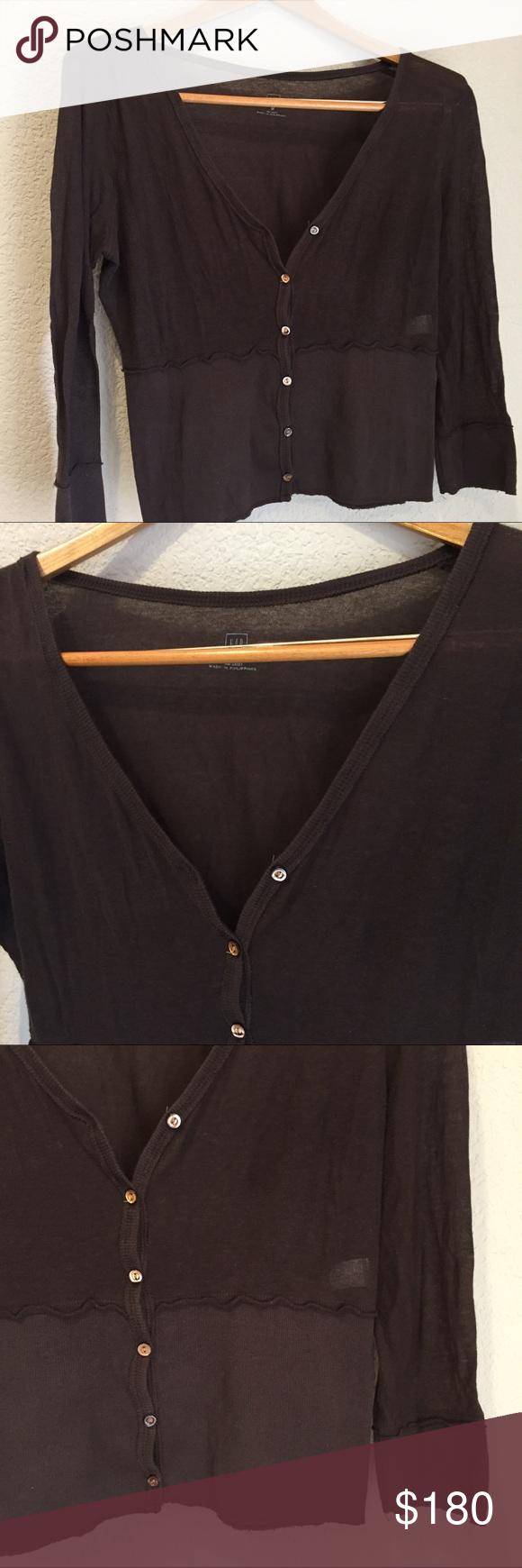 Gap sheer crop v neck cardigan sweater | Sleeve, Summer and Dark brown