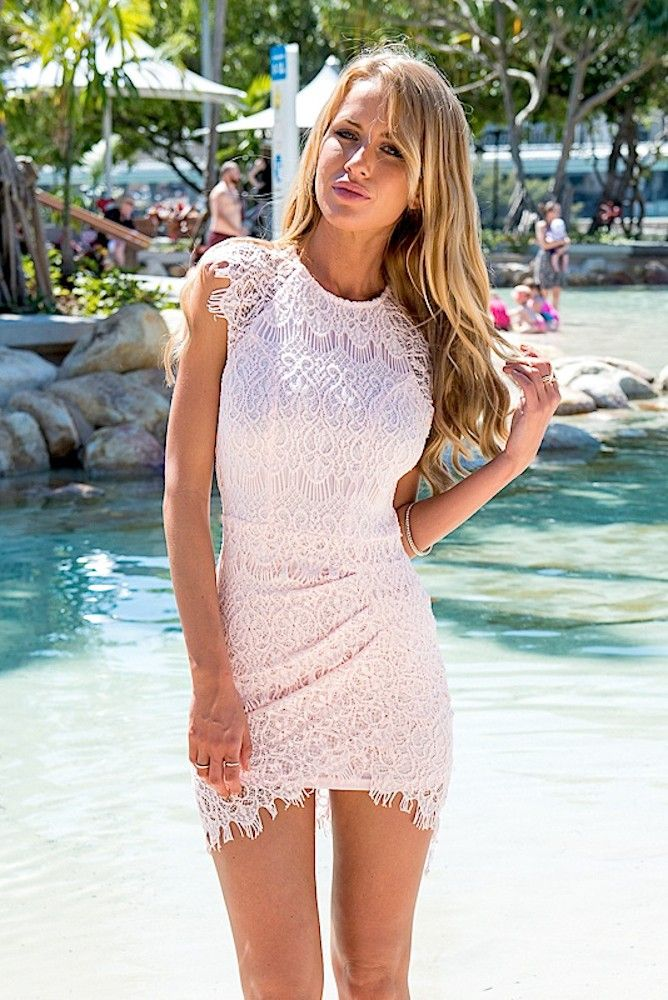 4561682f0ee0 Drape Mini Dress with Pink Lace Overlay