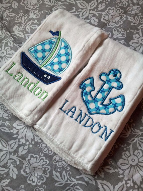New Personalized set of 2 Burp Coths Baby Gift Embroidered Boys