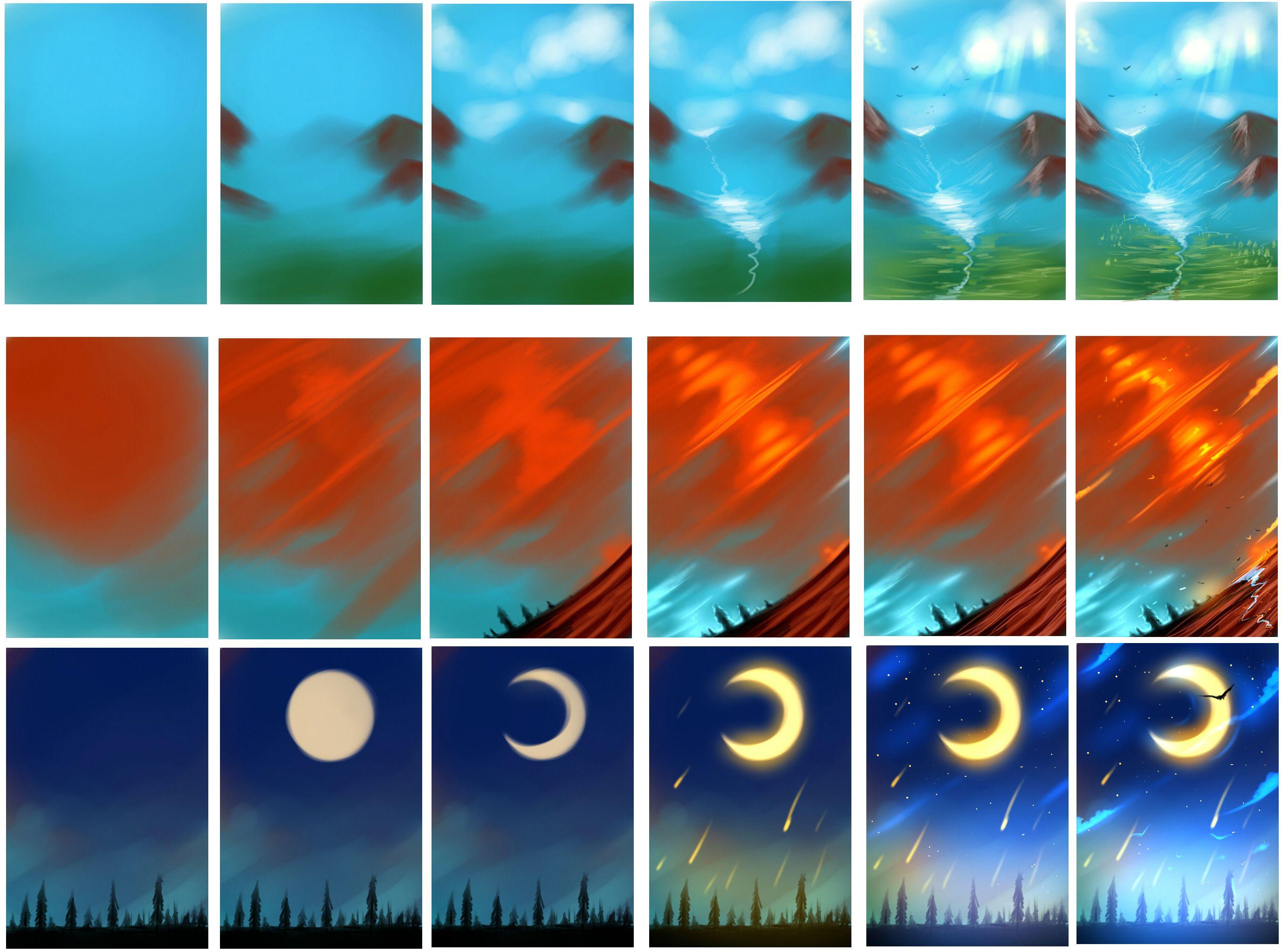 Easy Landescapes Tutorial Digital Art Tutorial Digital Painting Tutorials Cloud Tutorial