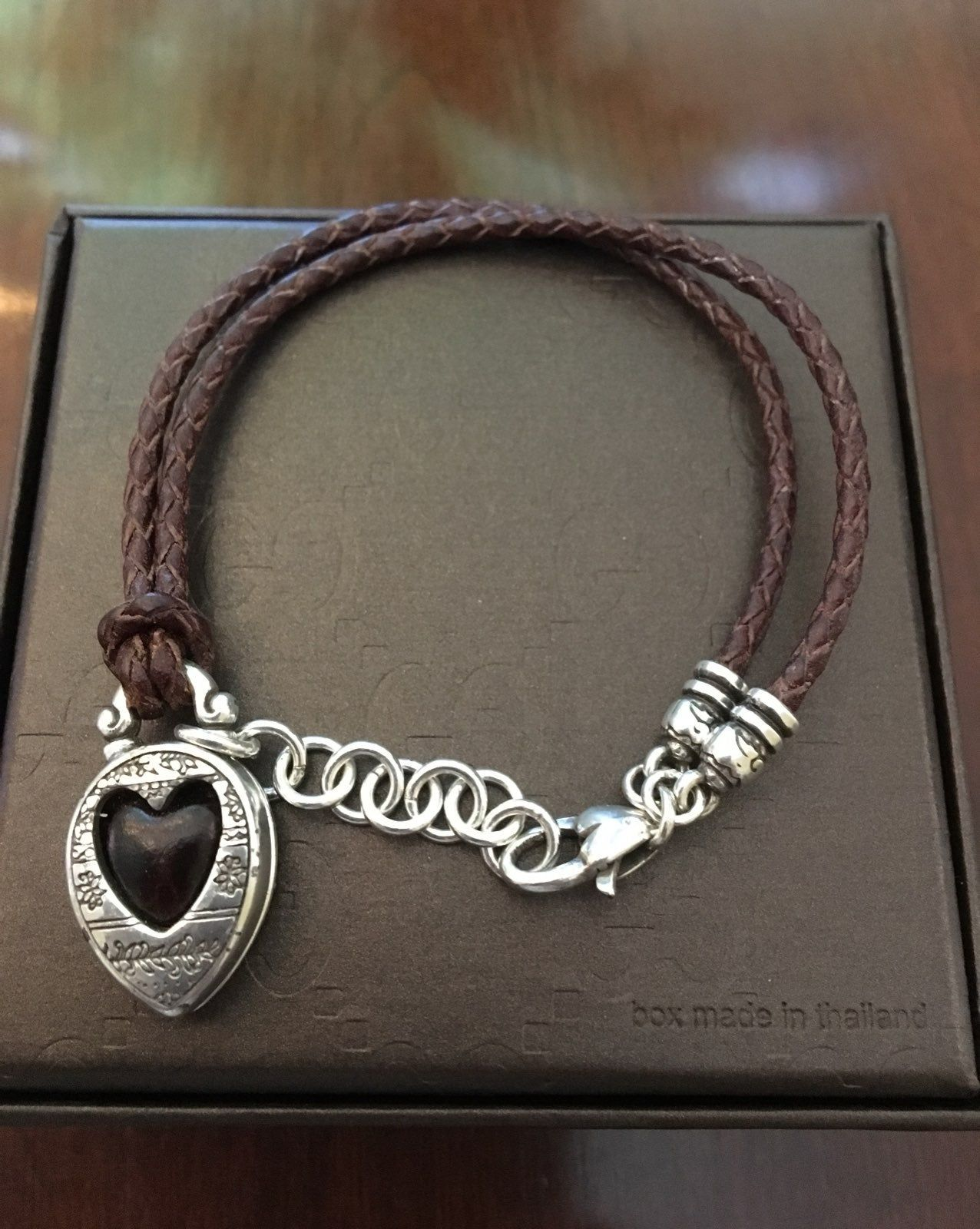 Brighton Brown Braided Leather Strap With Silver Heart Brighton Bracelets Braided Leather Silver Heart